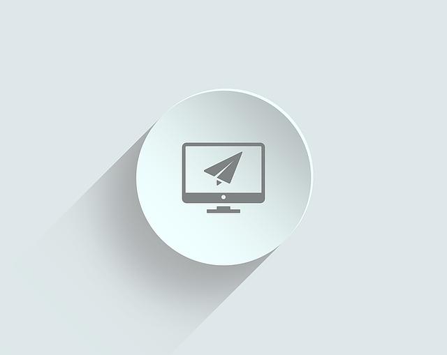 imagen de un avión de papel sobre un monitor de ordenador. Creado a modo de icono de una landing page